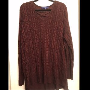 Apt. 9 Cross Neck Burgundy Sweater Tunic size 3x